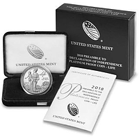 USA 2018 1 Dollar 100 $ Platin Eagle - Unabhängigkeitserklärung #1/3 PP