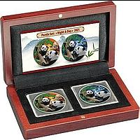 China 2021 2x10 Yuan Silberpanda Farbset ´Night undamp; Day´ #1 farbig Stgl.