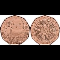 5 Euro Osterküken 2021 bfr Österreich Kupfer