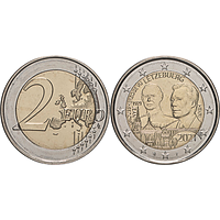 2 Euro Jean Reliefprägung 2021 bfr Luxemburg