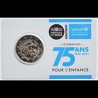 Frankreich 2021 2 Euro 75 Jahre UNICEF Stgl.