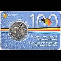 2 Euro Wirtschaftsunion 2021 Stgl. Belgien Coincard NL