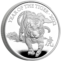 Großbritannien 2022 10 Pfund Jahr des Tigers 5 Oz PP