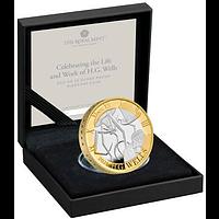 Großbritannien 2021 2 Pfund H.G. Wells SiPP Piedfort vergoldet PP