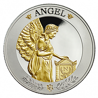 Saint Helena 2021 1 Pfund Napoleons Engel Silber mit selektiver Goldauflage PP