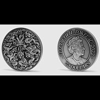 Tokelau Islands 2022 25 Dollar Die 9 Söhne des Drachenkönigs - Antik Finish Stgl.